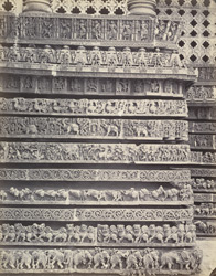 Views in Mysore. Ruined temple of Hallabeed [Hoysalesvara Temple, Halebid]. Detail of carvings on base of eastern face 212622